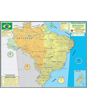 Poster Brasil - Fusos Horários 500
