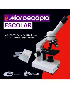 Microscópio Monocular 640x + Kit com lâminas 116/AL LED + KIT Coleman