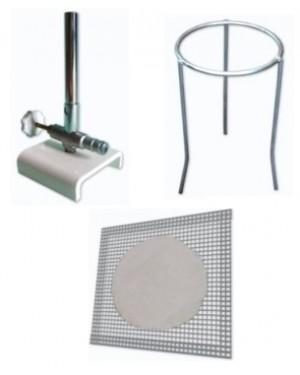 kit Bico de Bunsen c/registro + Tela amianto + Tripé de ferro  KIT-BTT